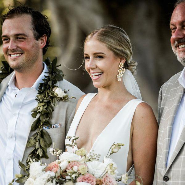 bride wearing earrings