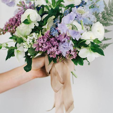mixed sweet pea bridal bouquet