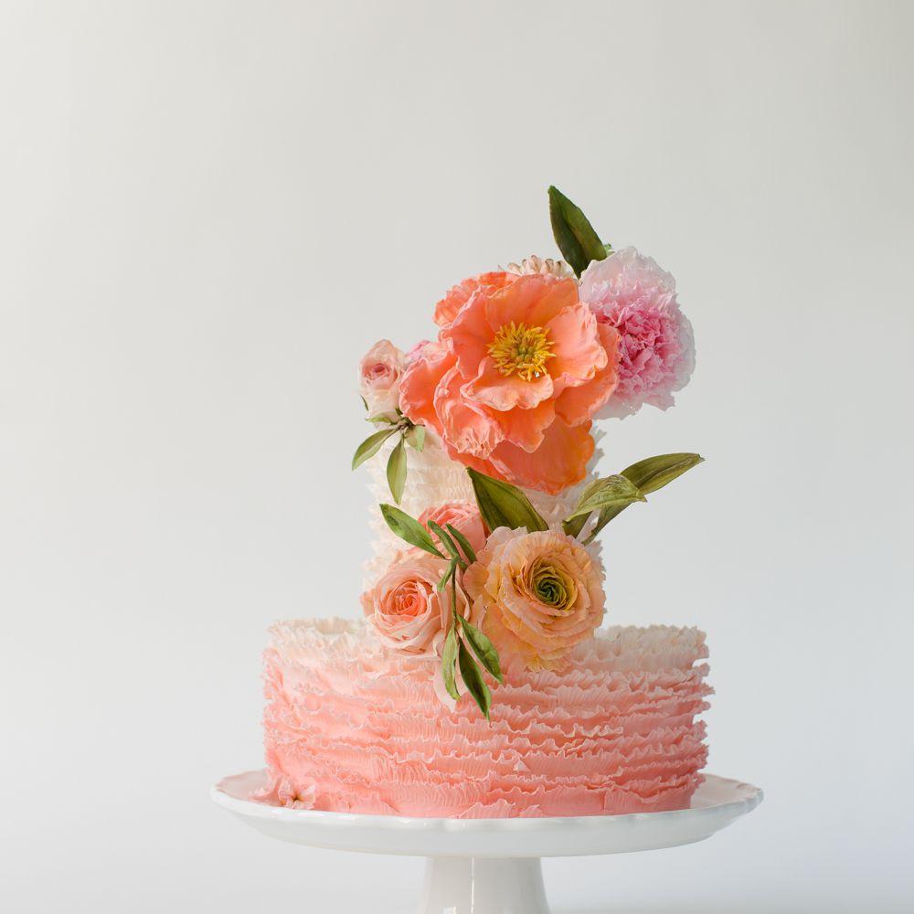 Ruffled Ombré Wedding Cake
