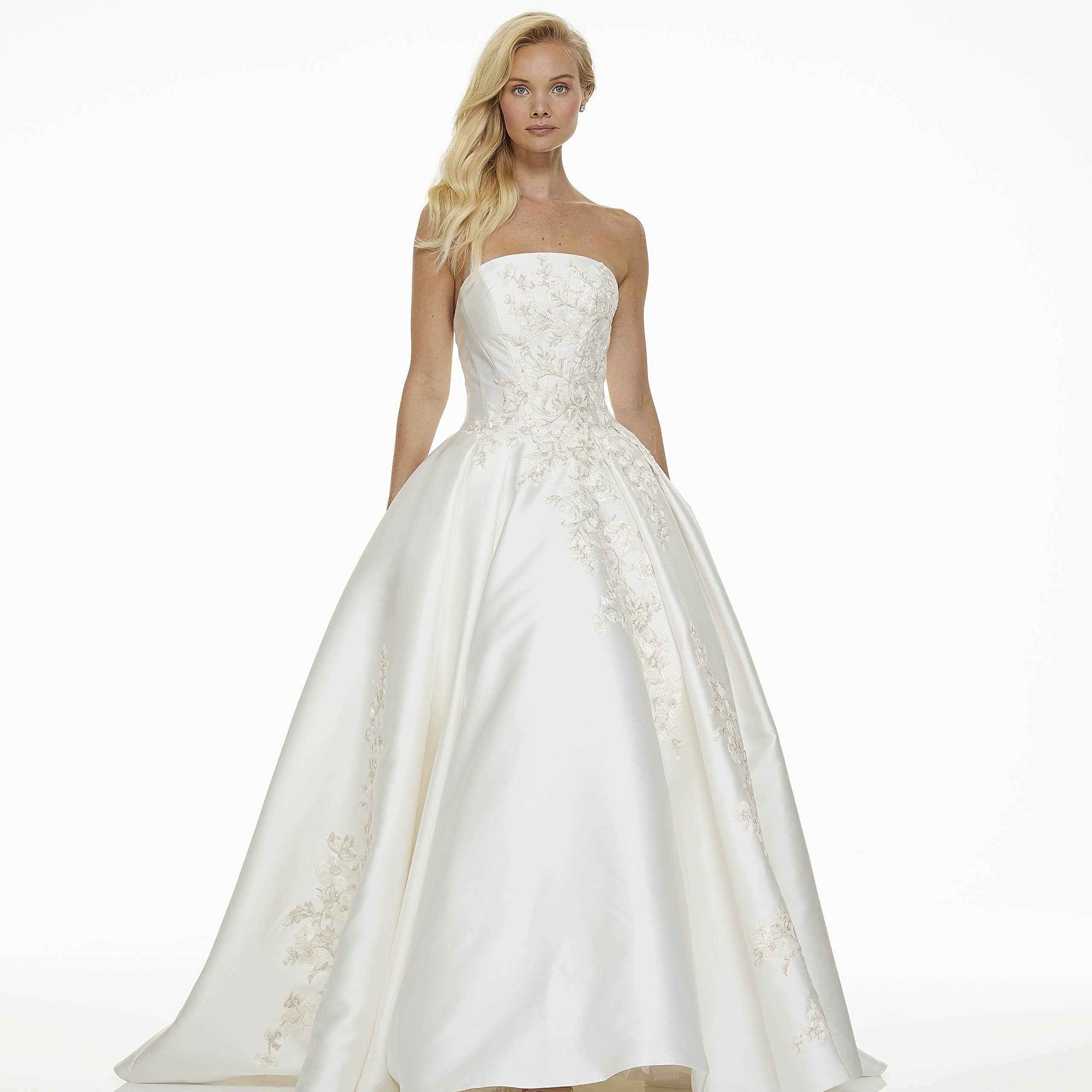 Model in strapless wedding ball gown
