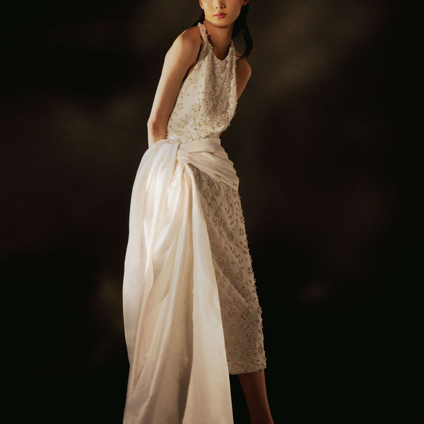 Markarian A Fight for Love and Glory White Pearl-Embellished Broderie Anglaise Cotton Midi Dress with Sash