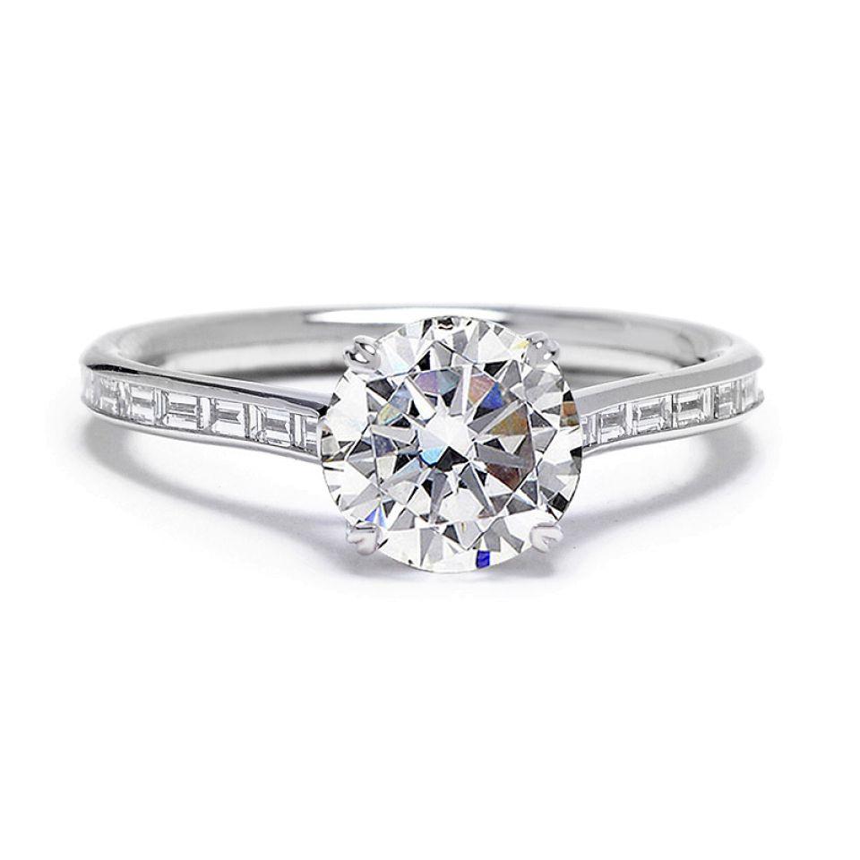 Danhov Baguette Diamond Engagement Ring
