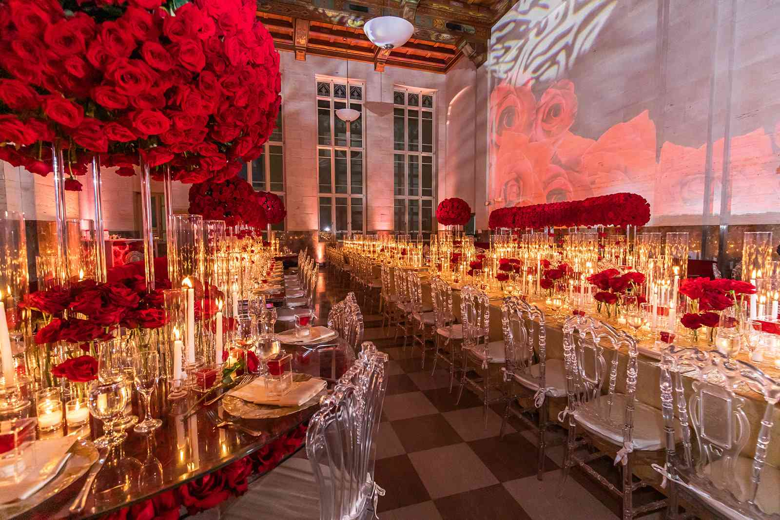 Reception venue with roses
