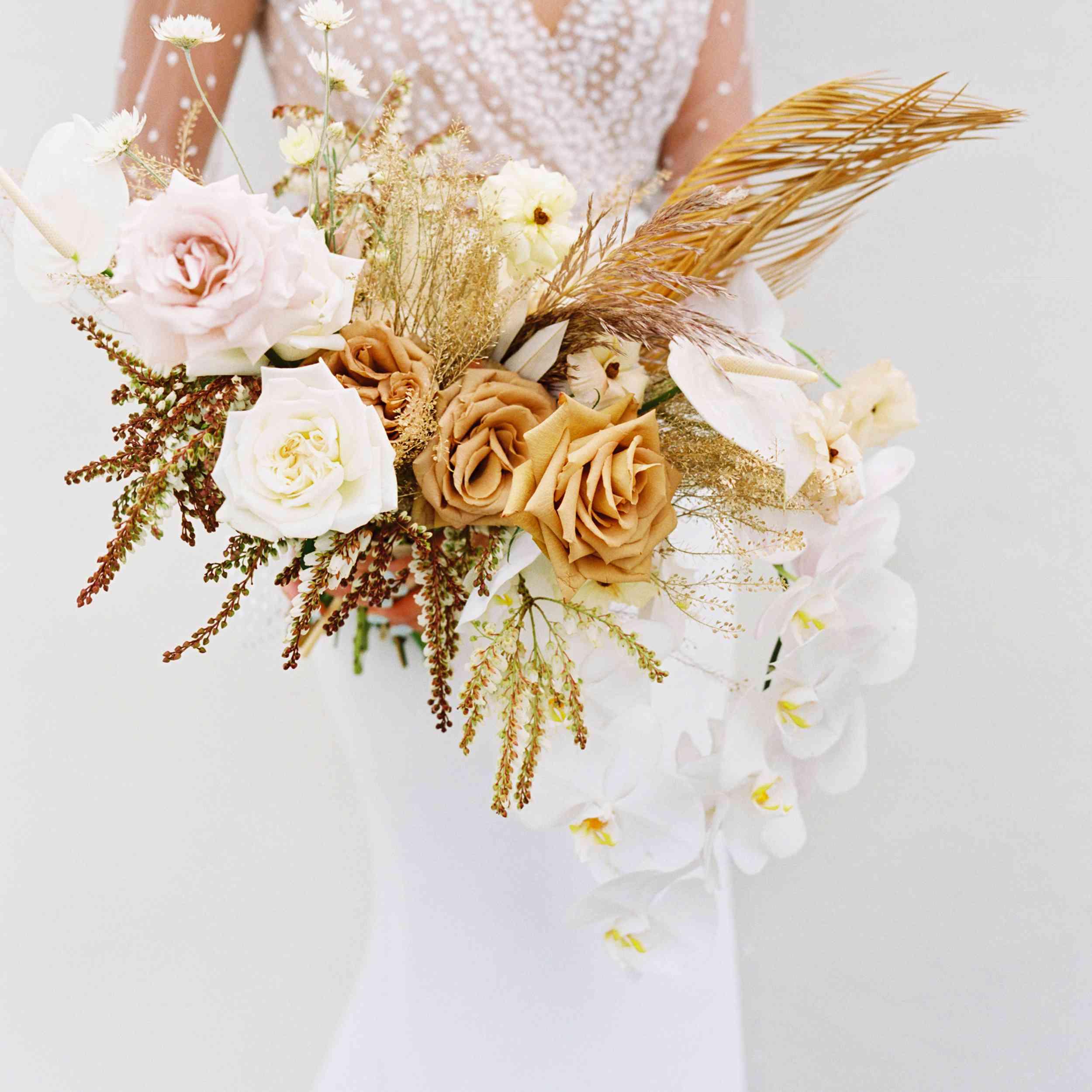 Ribbon cascade Bride hand flower arrangement alternative Very light Crystal wired bridal bouquet Wedding keepsake. Wedding flowers