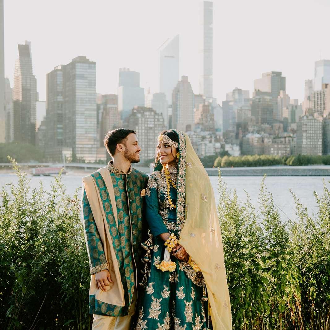 bride and groom Gaye Holud looks