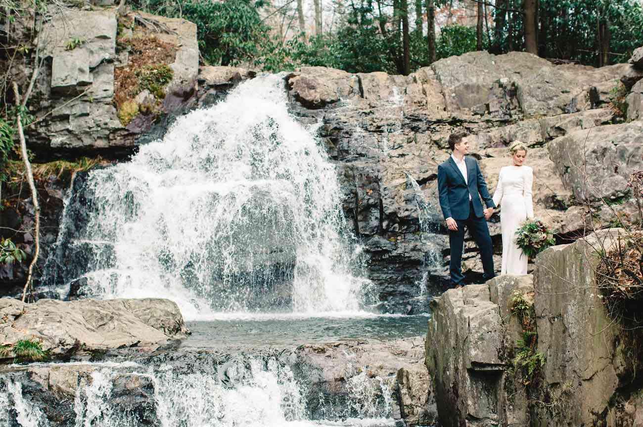 <p>Wedding photo at Hickory Run State Par</p>