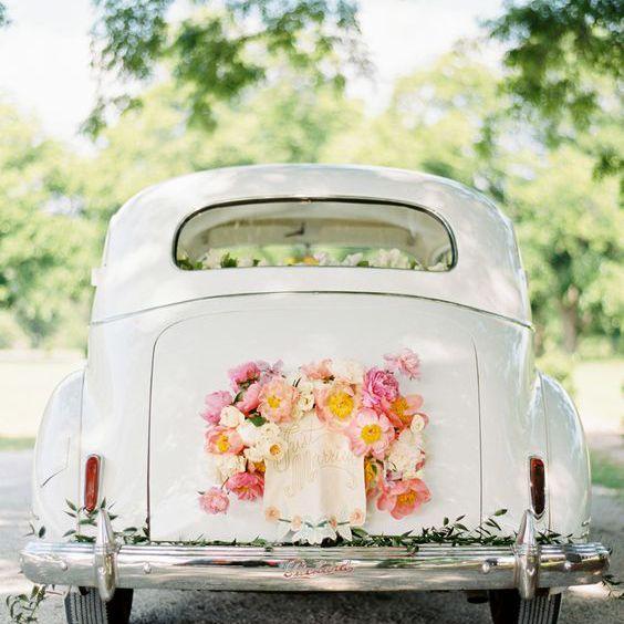 Wedding Getaway Car with Fresh Flowers