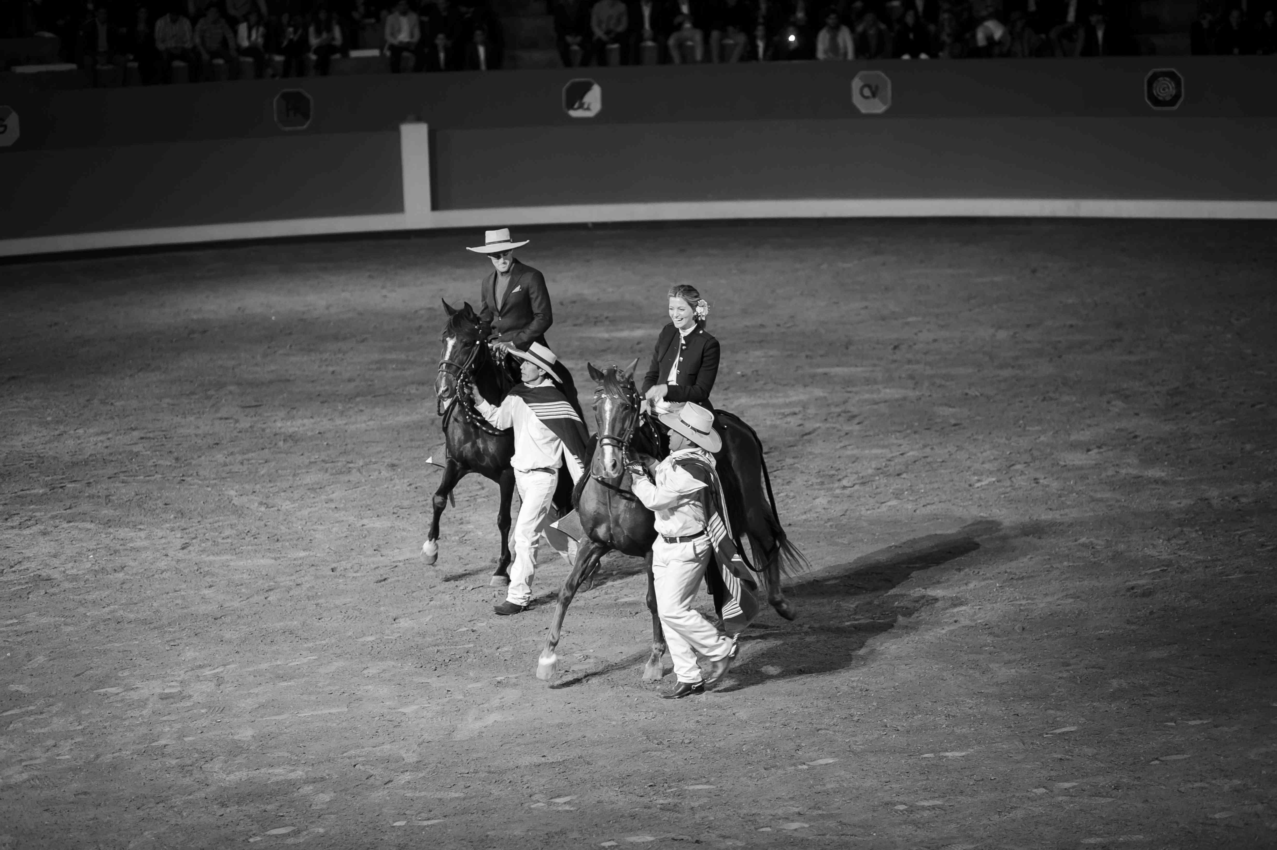 <p>Bride and groom on horseback</p><br><br>