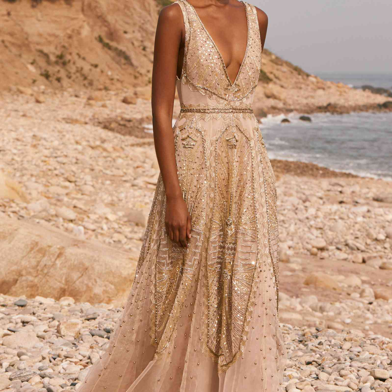 allover beaded gown