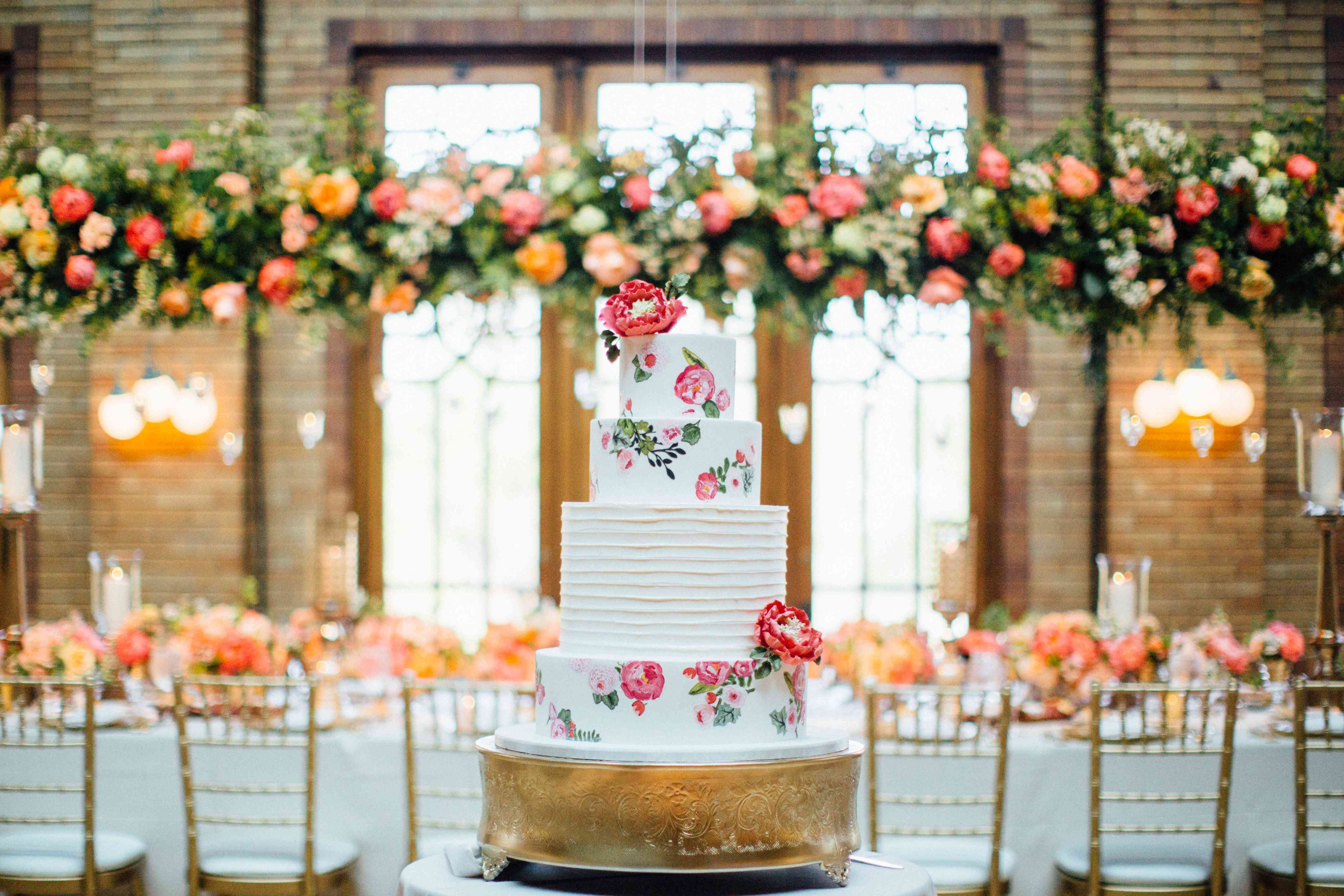White Wedding Cake with Watercolor Pink Flowers