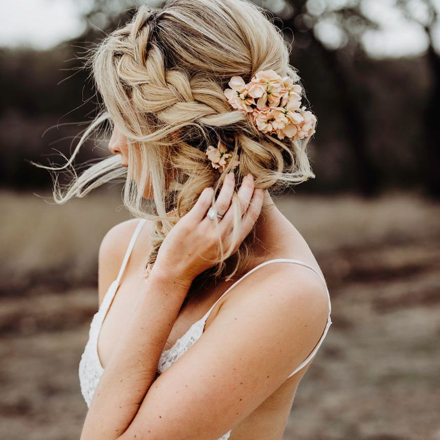 Thickly Braided Undone Updo