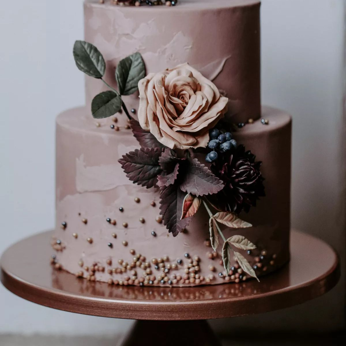 purple two tiered cake