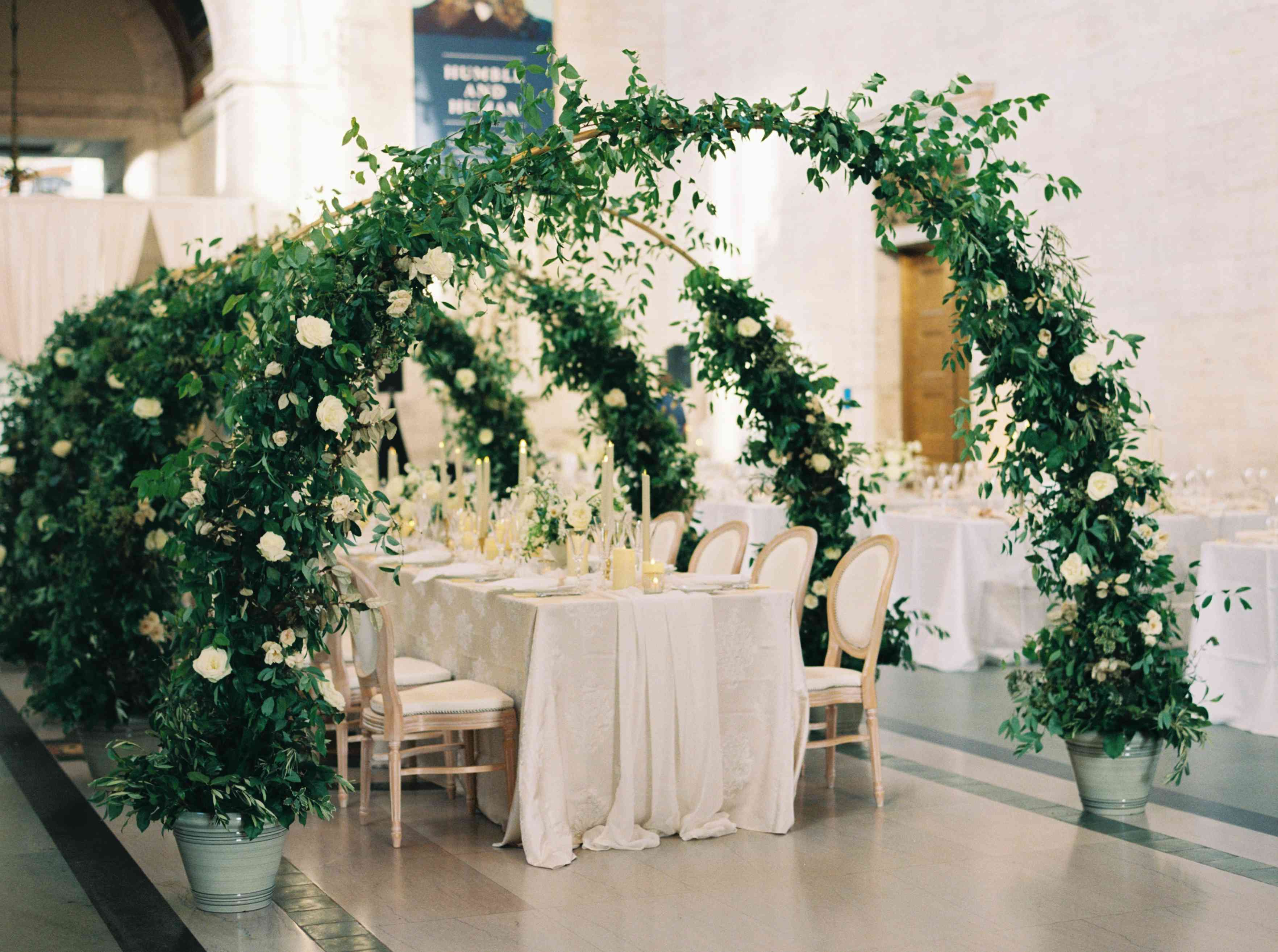 Greenery arches at reception
