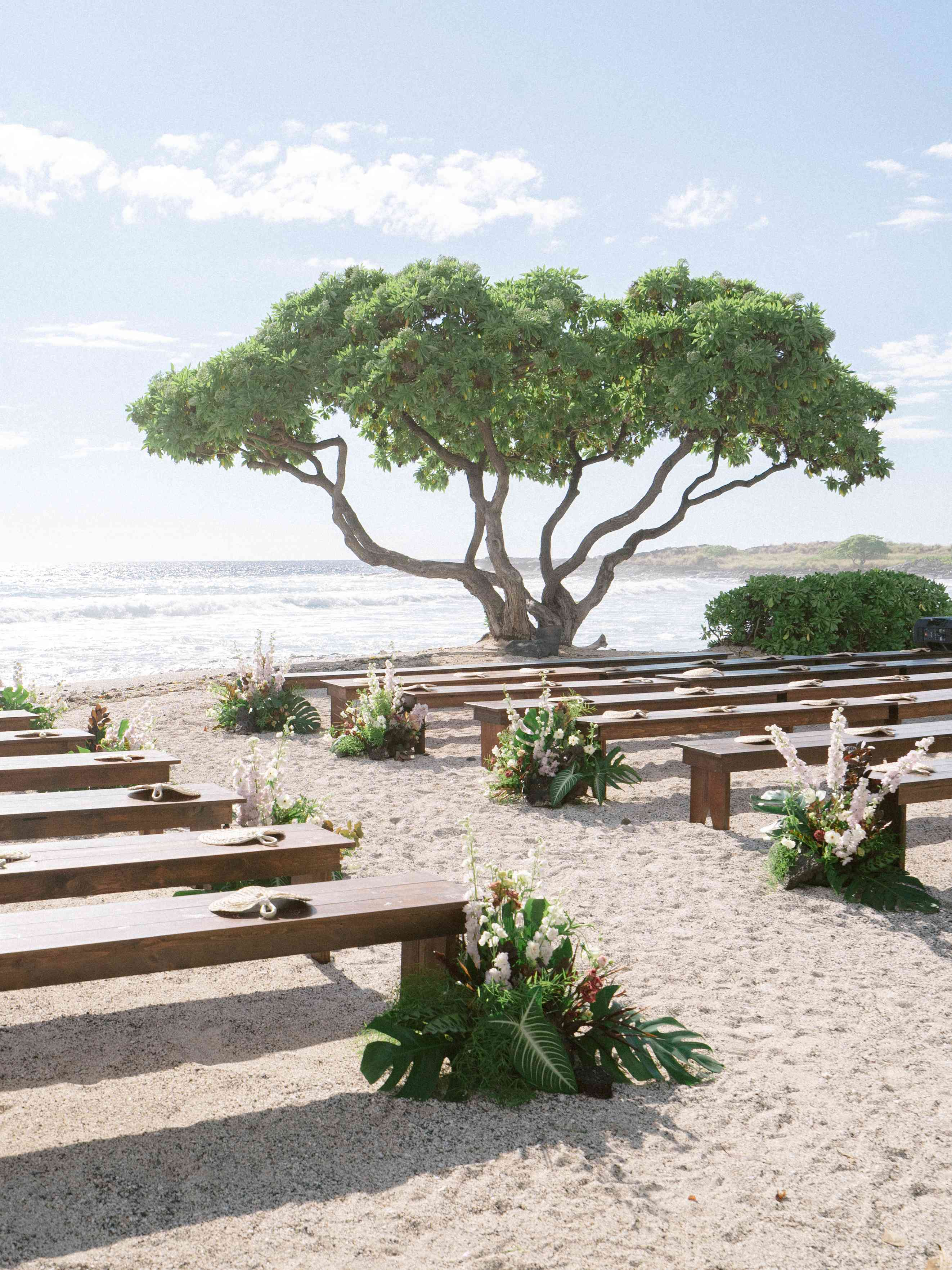 Wooden benches lined the aisle