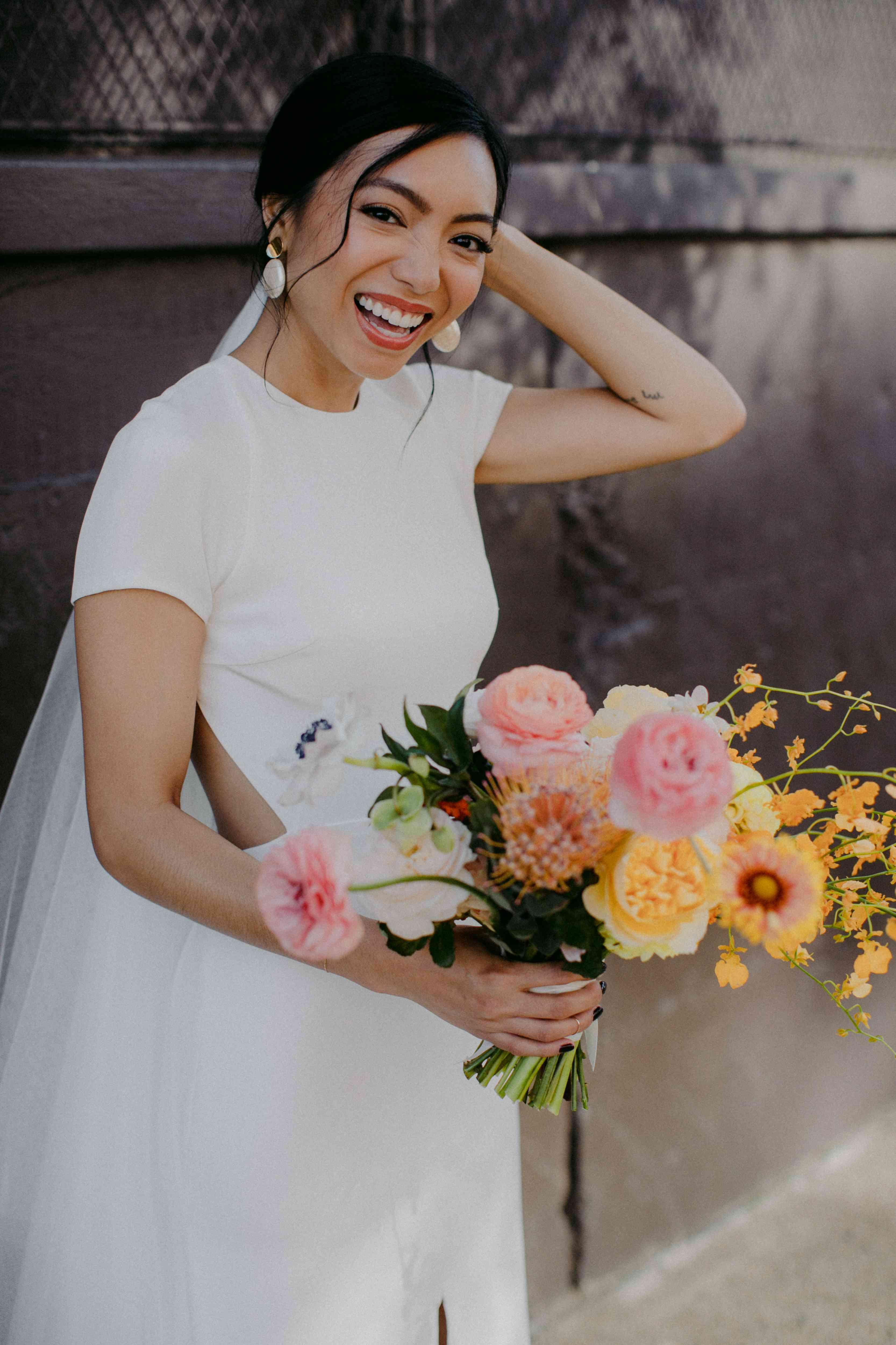 <p>bride smiling</p><br><br>