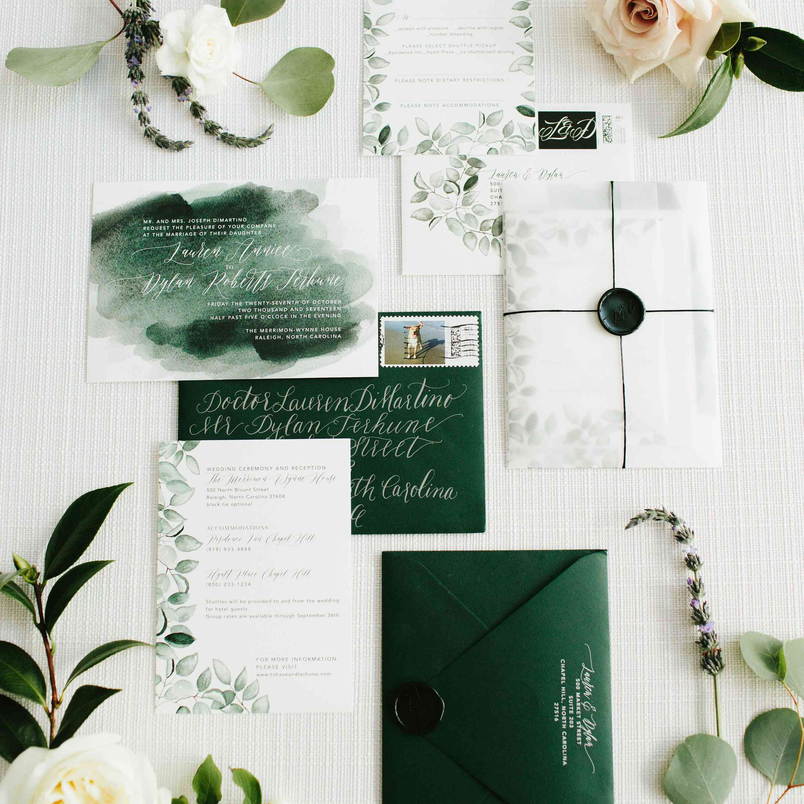 Emerald green invitation suite
