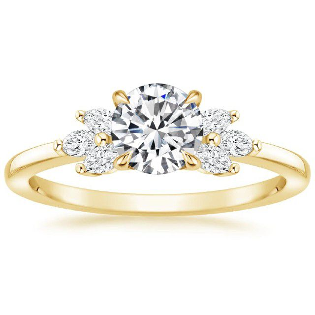 cluster ring with gold band
