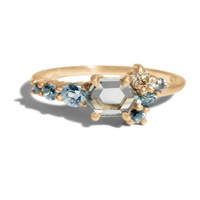 Bario Neal Radial Cluster Hex Blue Sapphire Ring