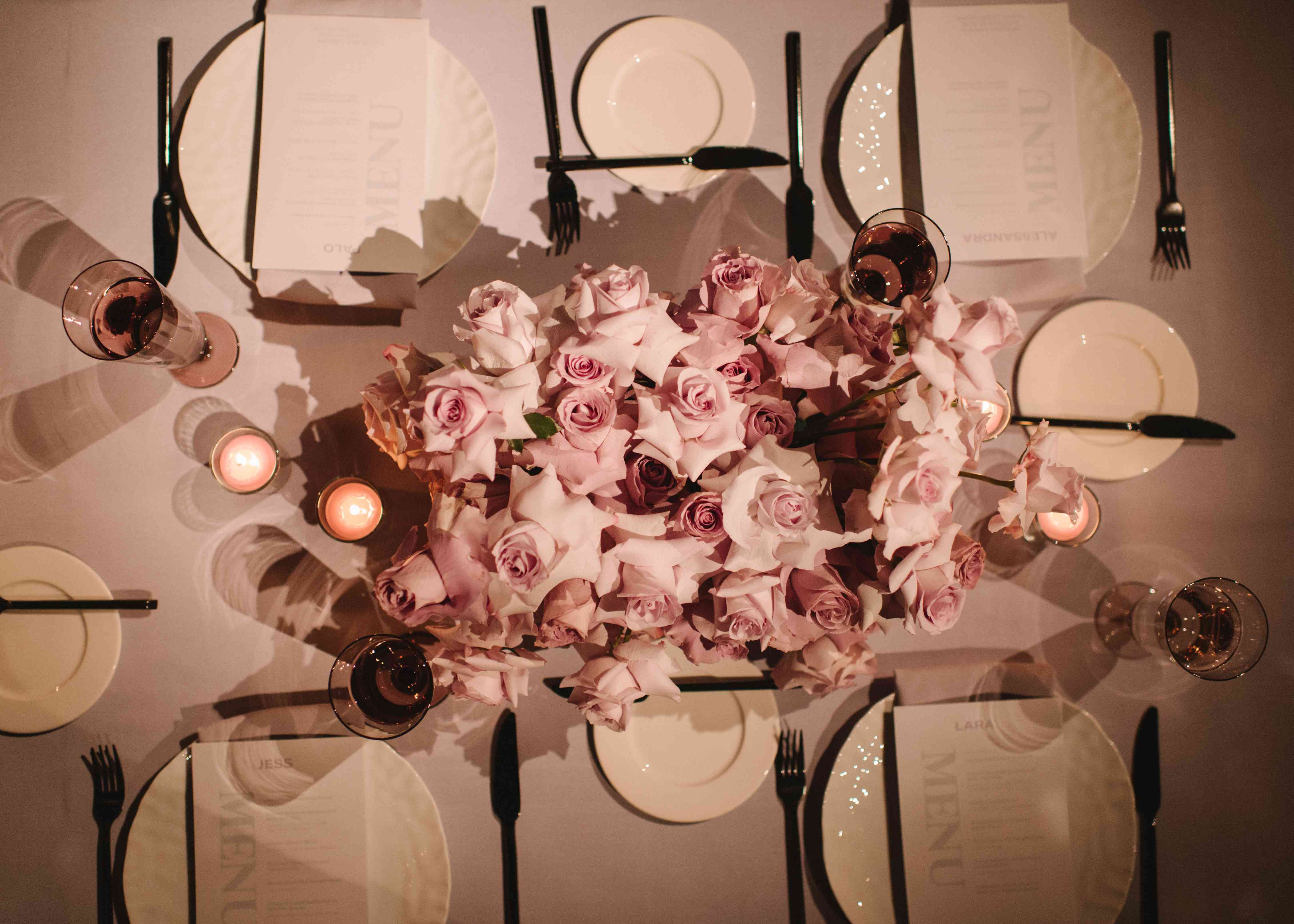 pink and white tables