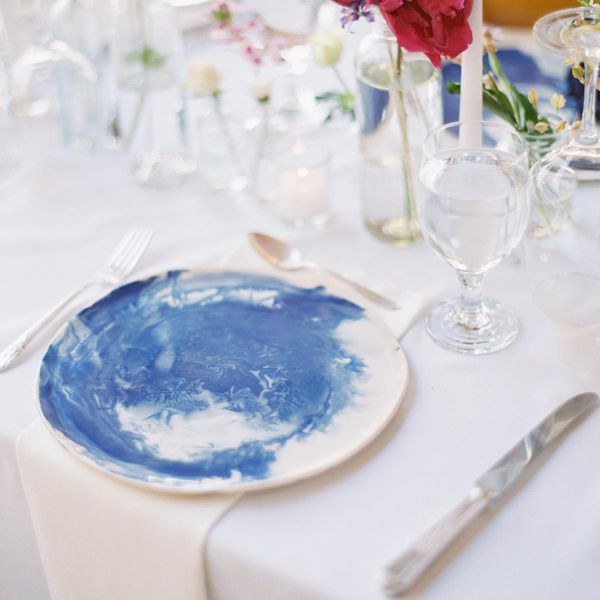 Handmade blue and white ceramic dinnerware