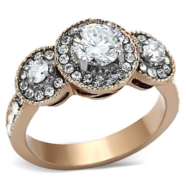 Inspired Silver Stainless Steel Two Tone Engagement Ring