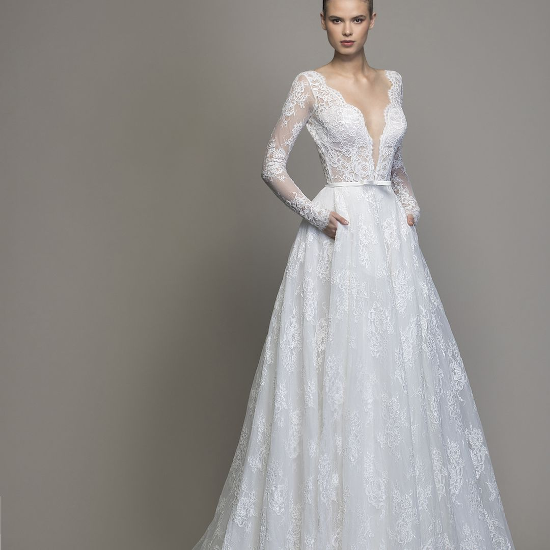 Love by Pnina Tornai Long Sleeve Lace A-Line Wedding Dress $4,800