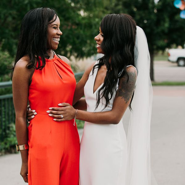 bride and mother smiling