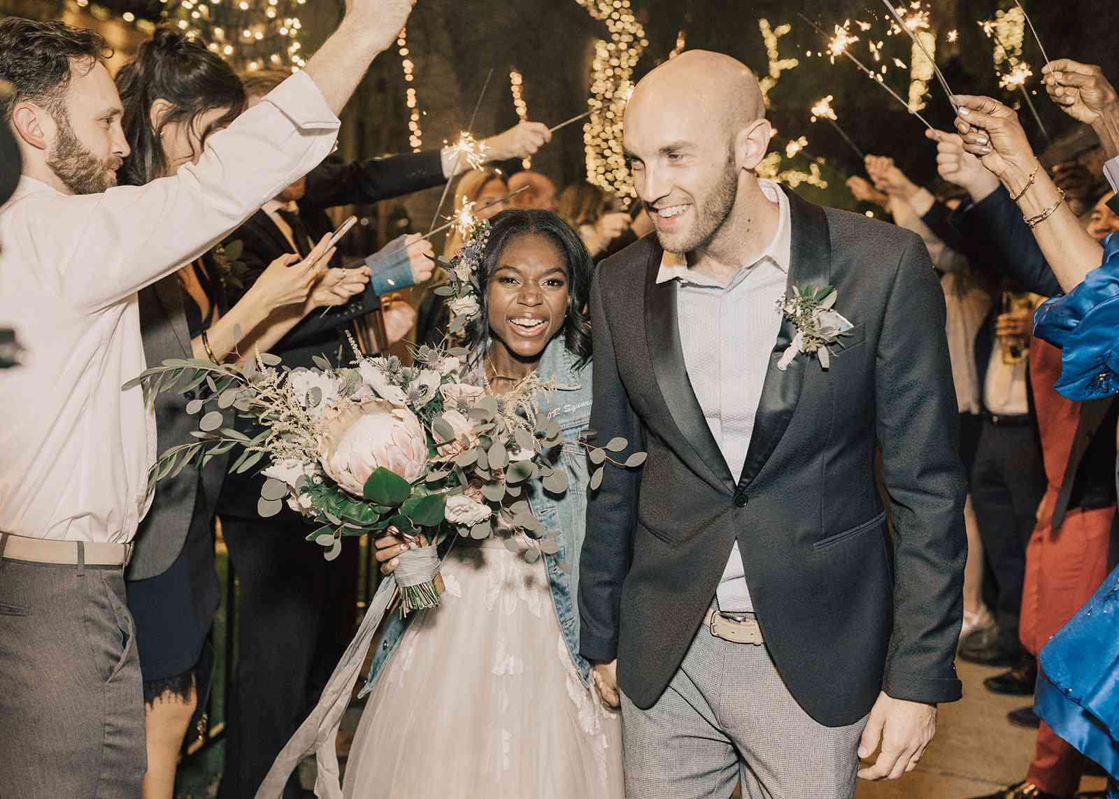 newlyweds leaving reception