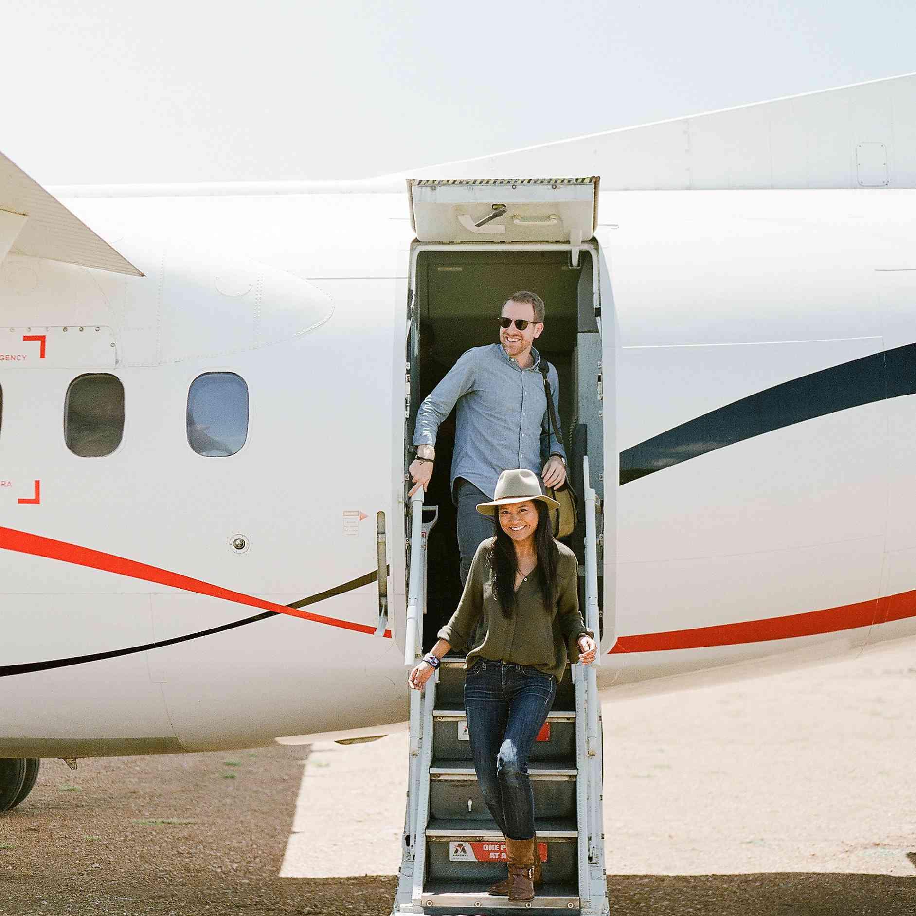 couple on plane