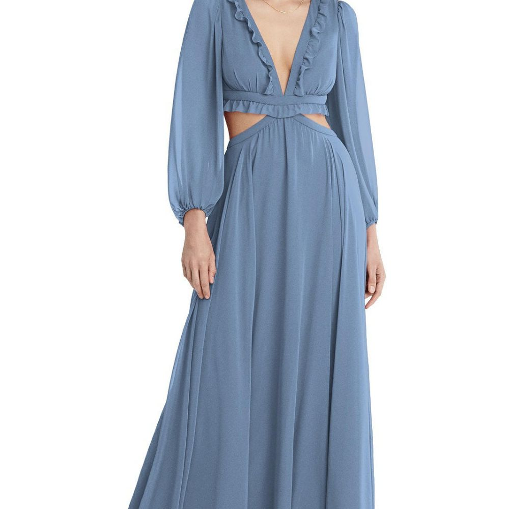 Model in a long-sleeved periwinkle ruffled A-line gown with side cutouts