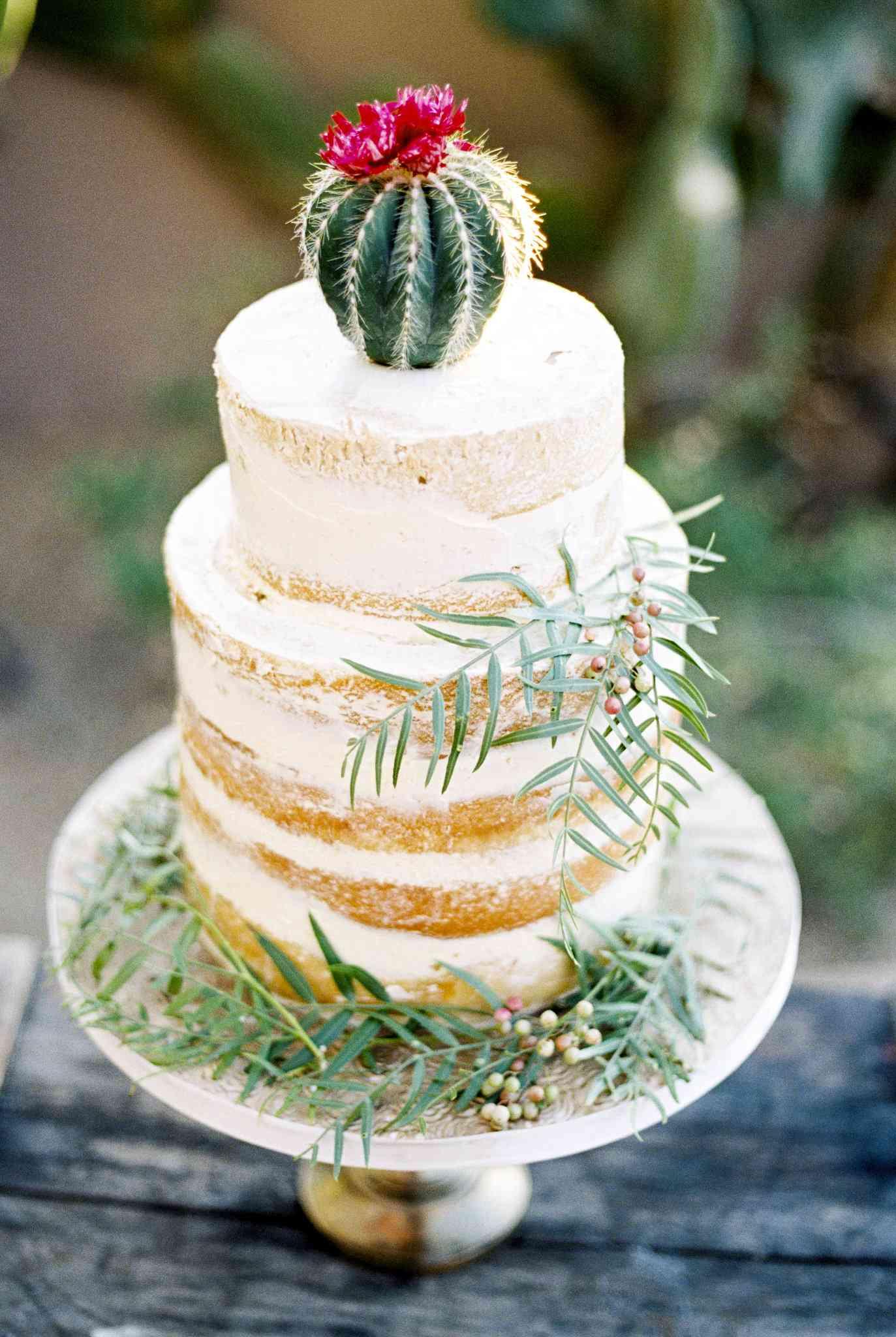 Cactus Decorated Wedding Cake