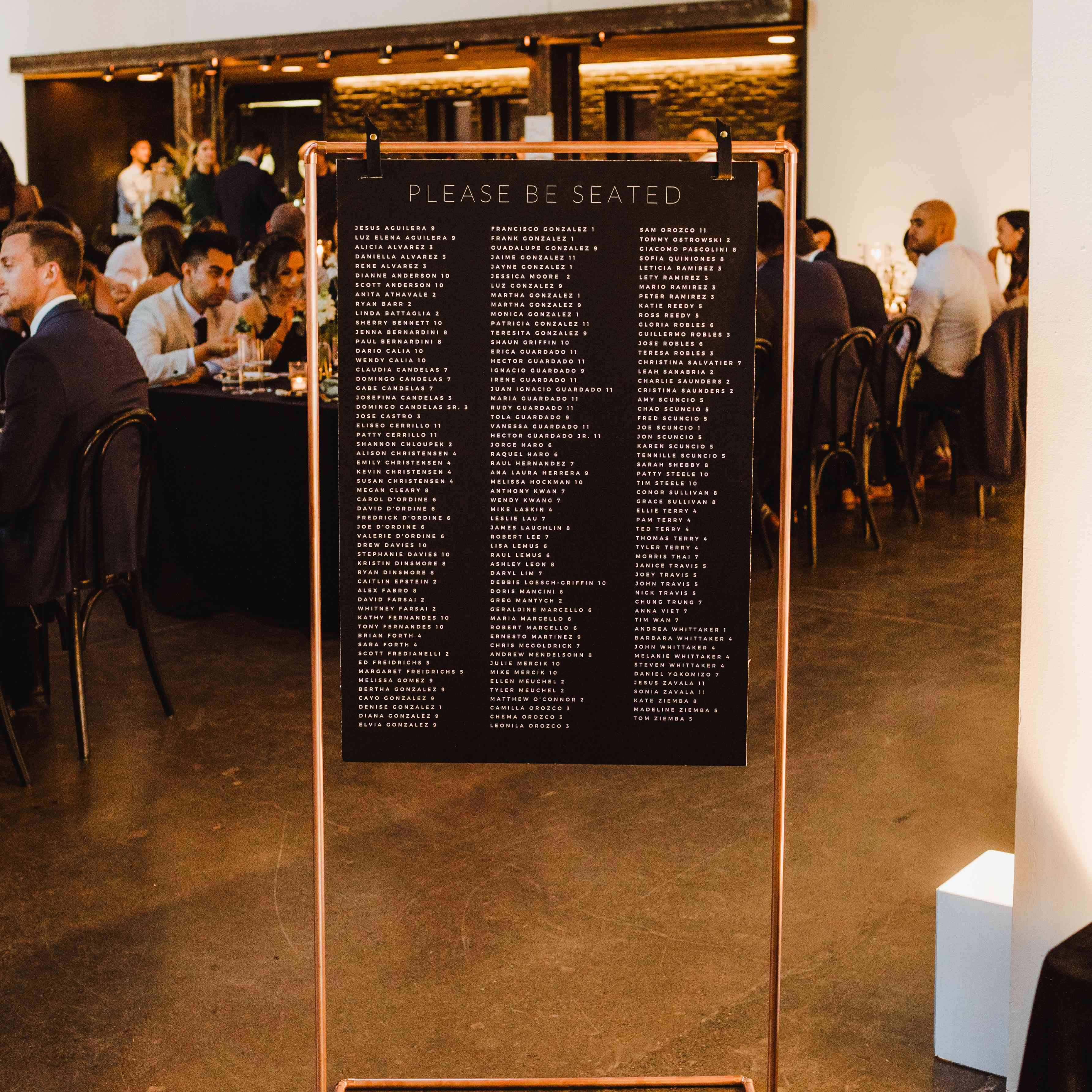 seating chart copper decor