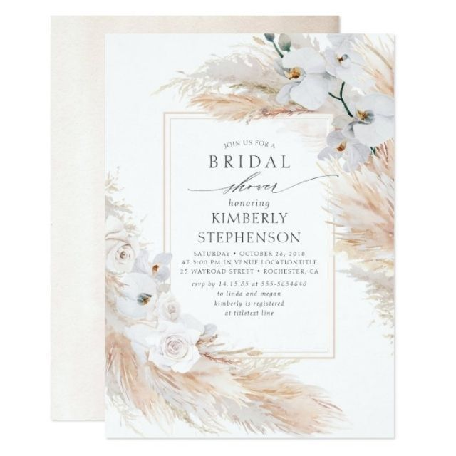 Zazzle Pampas Grass and White Orchids Chic Bridal Shower Invitation