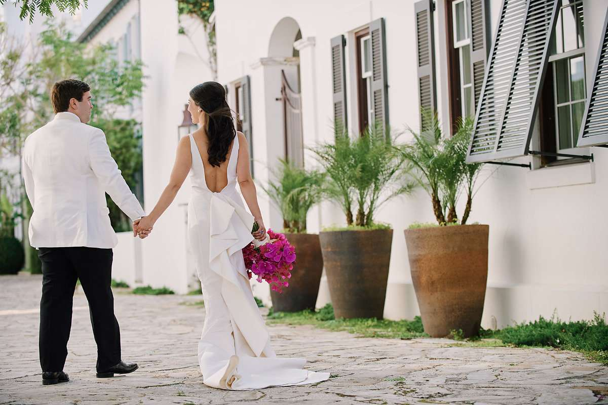 bride and groom white tie