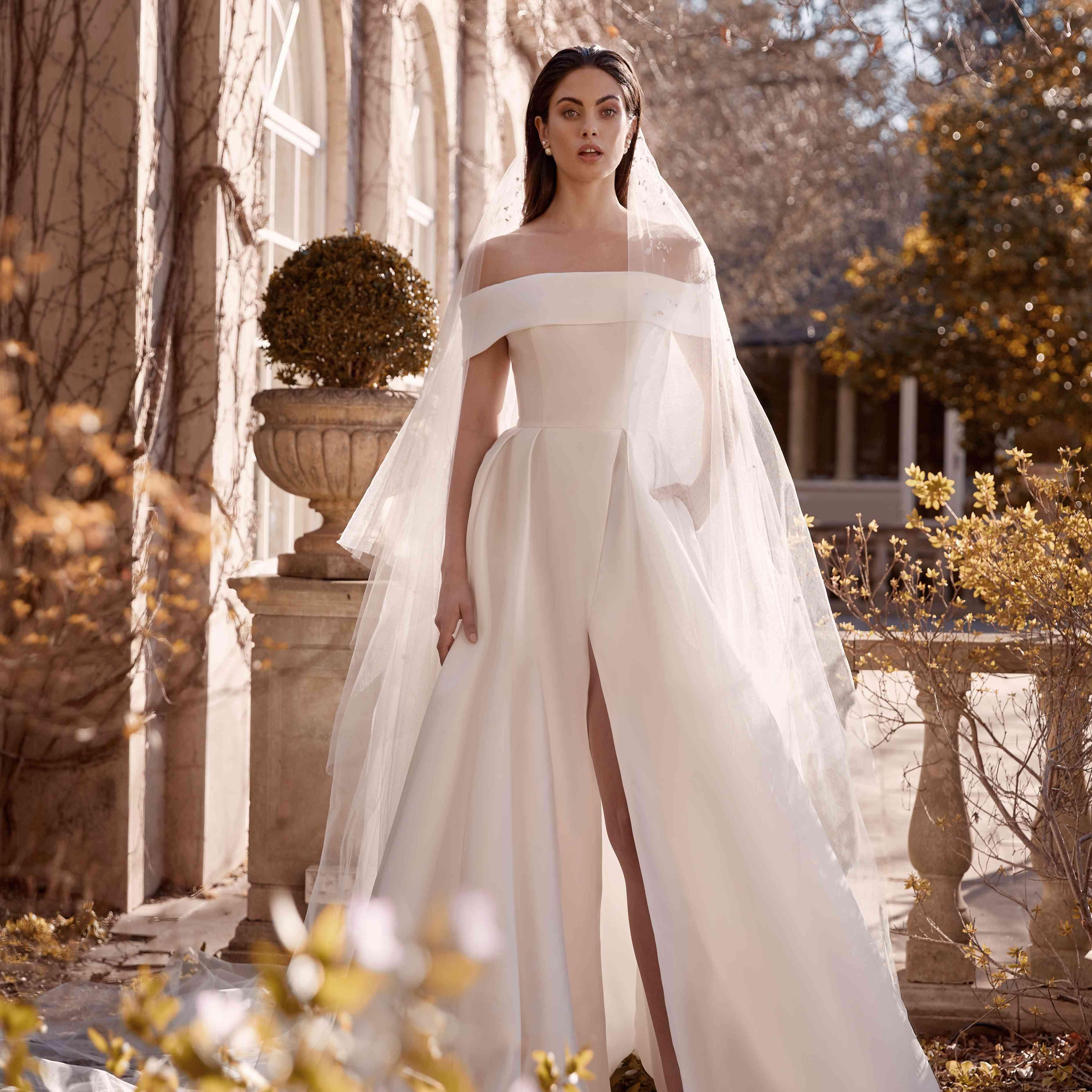 Keira off-the-shoulder wedding dress