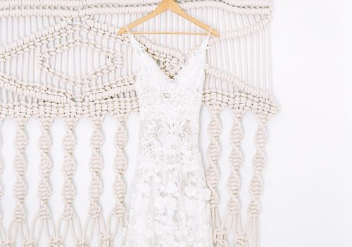 Hanging bride's dress macrame
