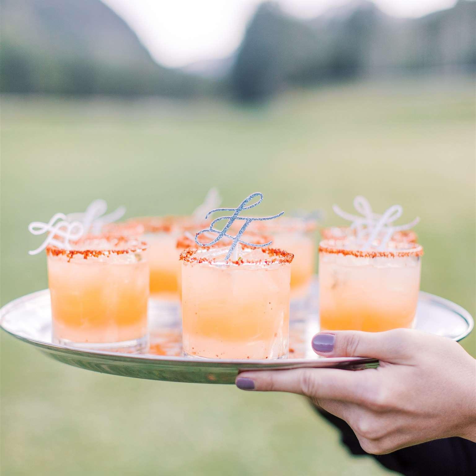 signature drinks with custom stirrers