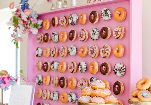 <p>Wedding Reception Doughnut Wall</p>