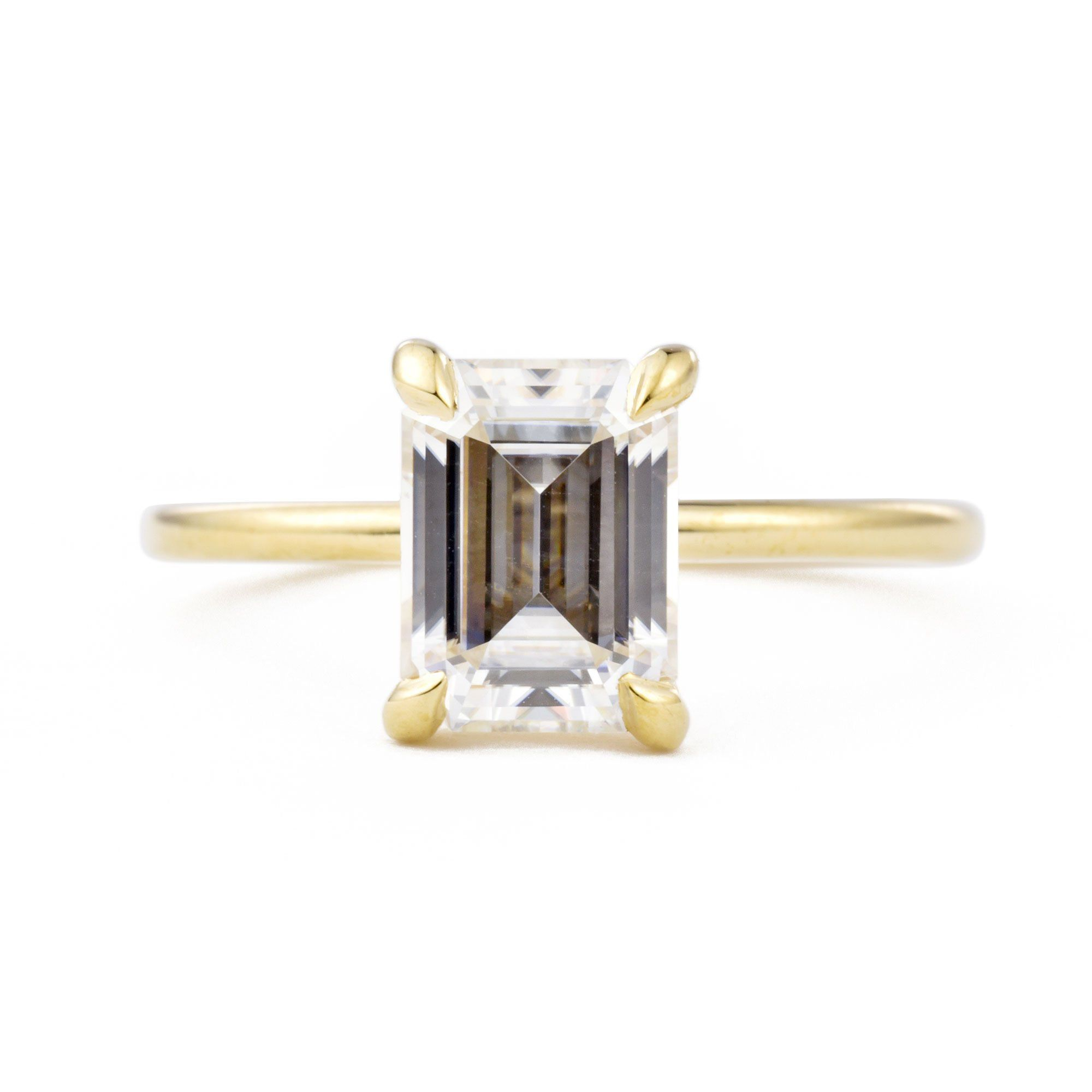 Vera Emerald Cut Moissanite Solitaire Engagement Ring