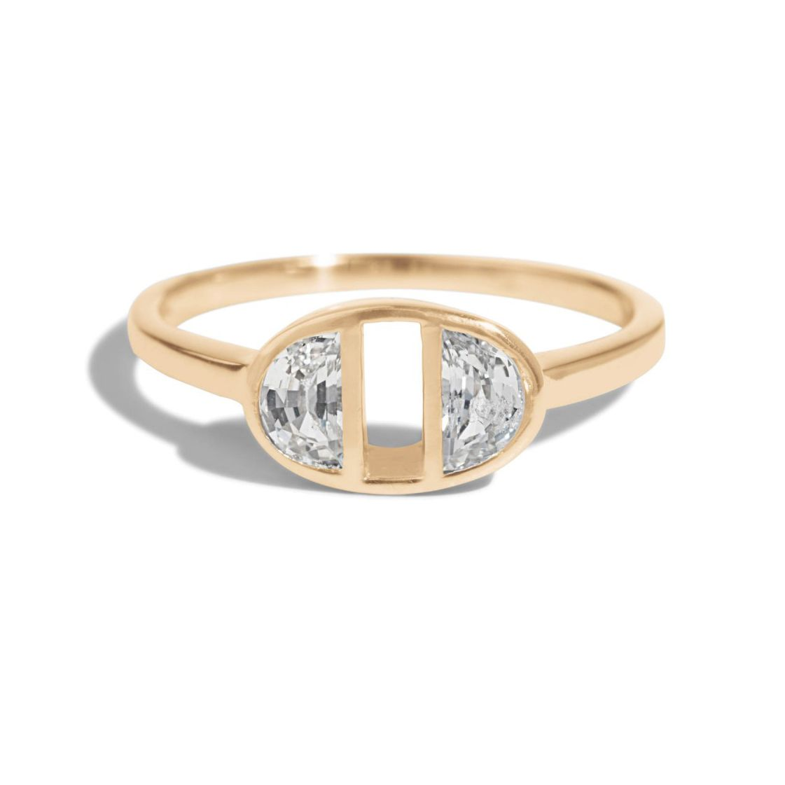 Bario Neal Half-Moon Dyad White Sapphire Ring