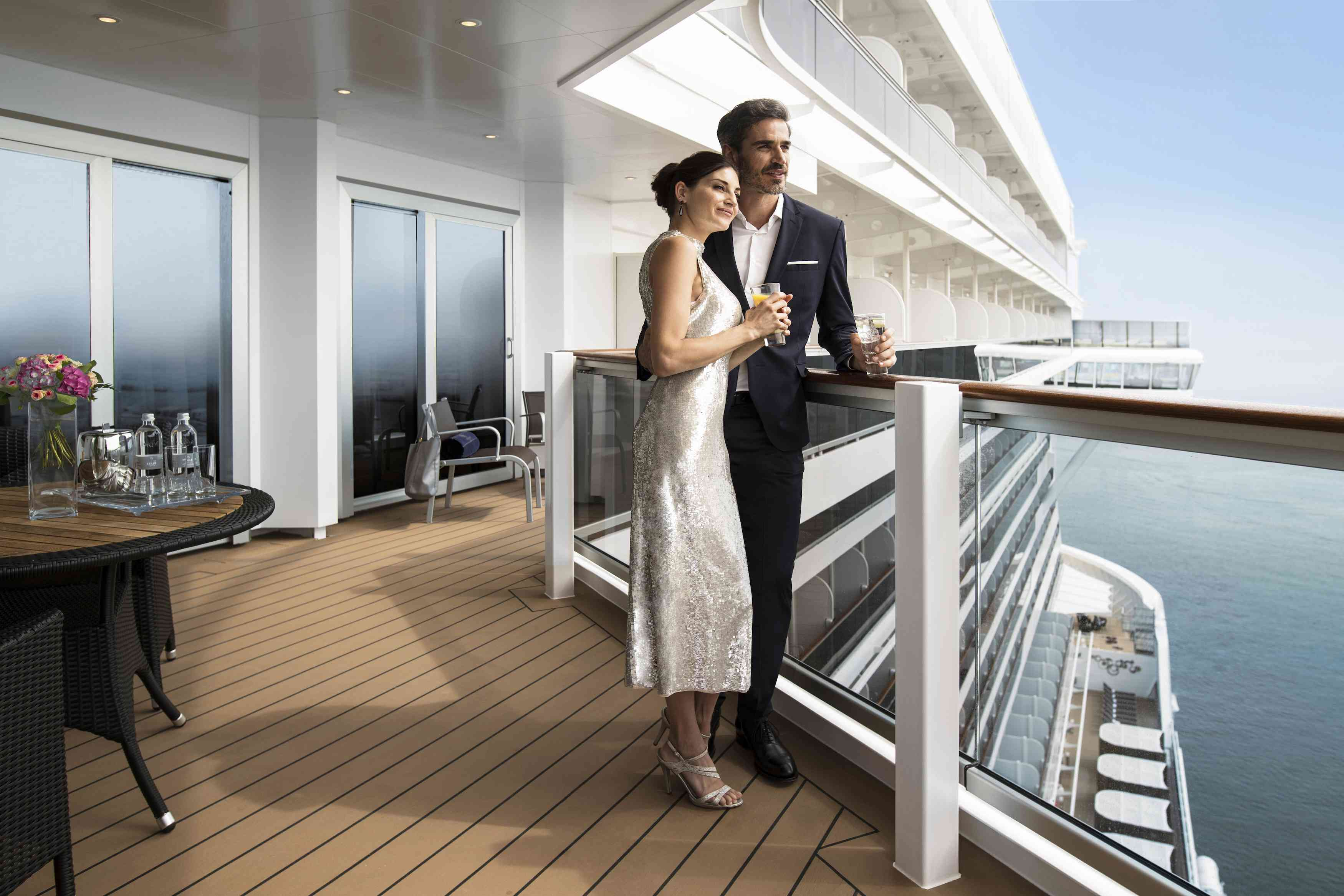 Bride and groom on the deck of an MSC Cruise ship