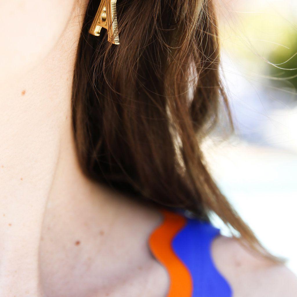 minimalist california wedding, initial earrings