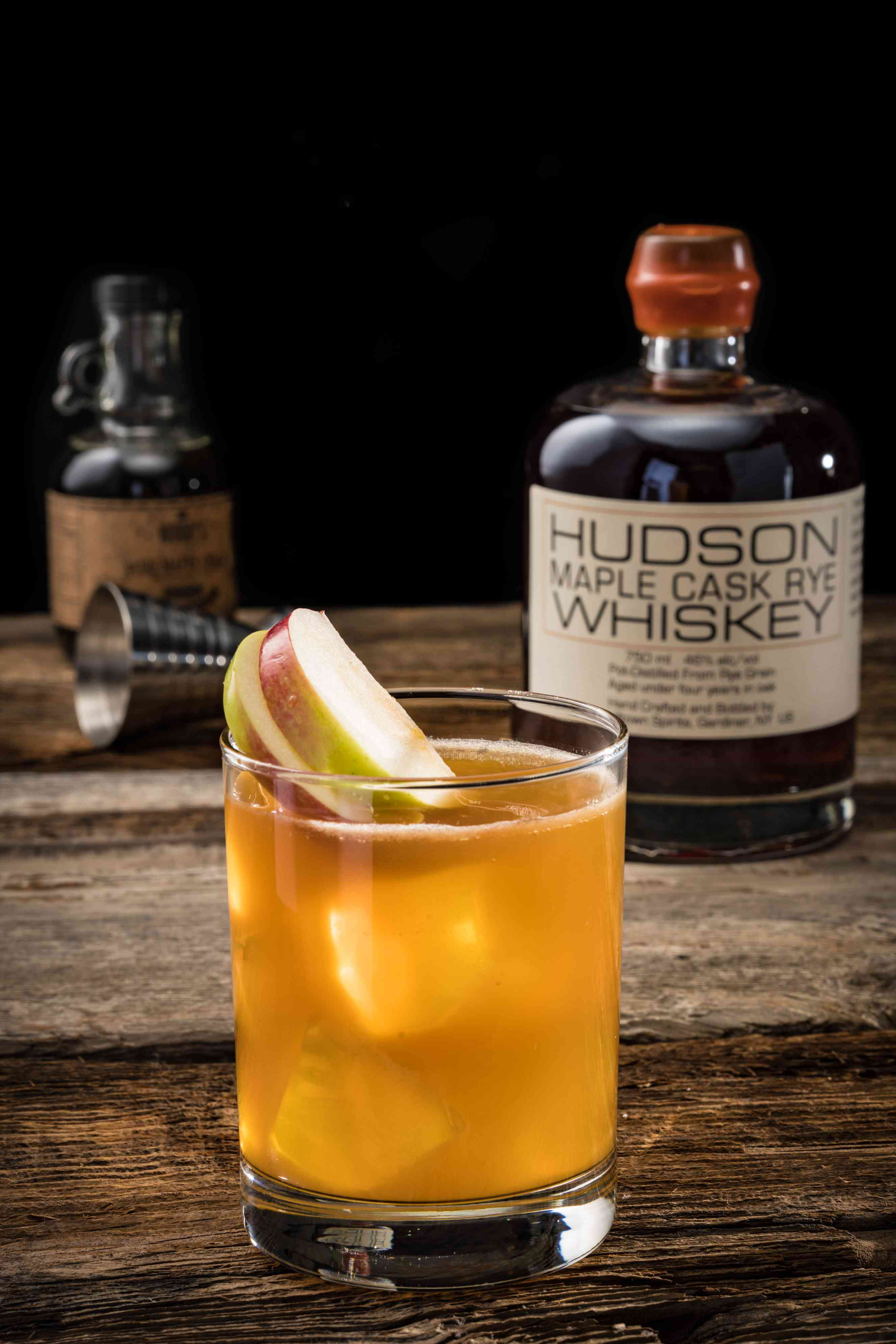 alcohol, signature cocktails, drink, glass, whiskey, apple, garnish, highball glass