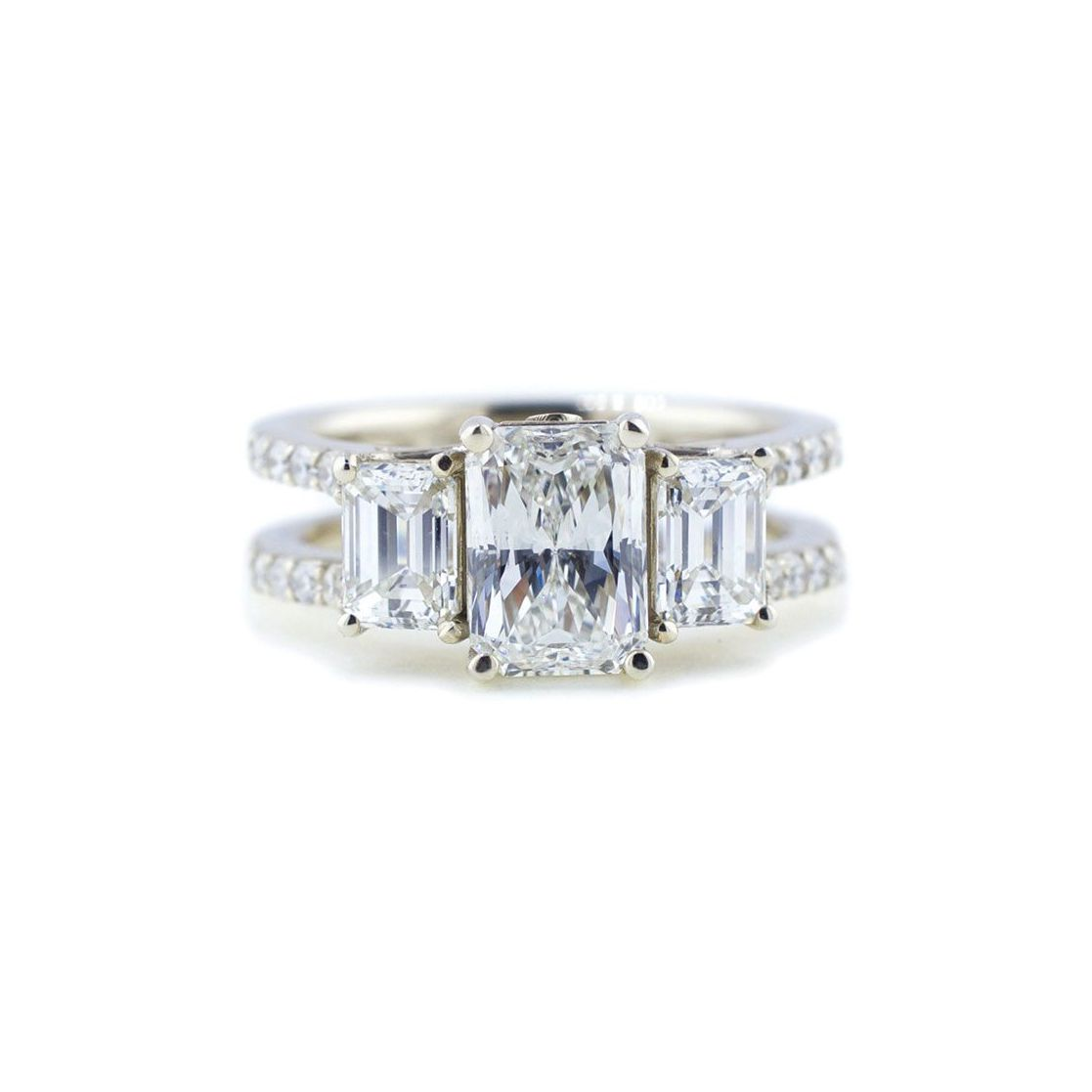 Abby Sparks Jewelry The Leah Three-Stone Double Band Diamond Ring