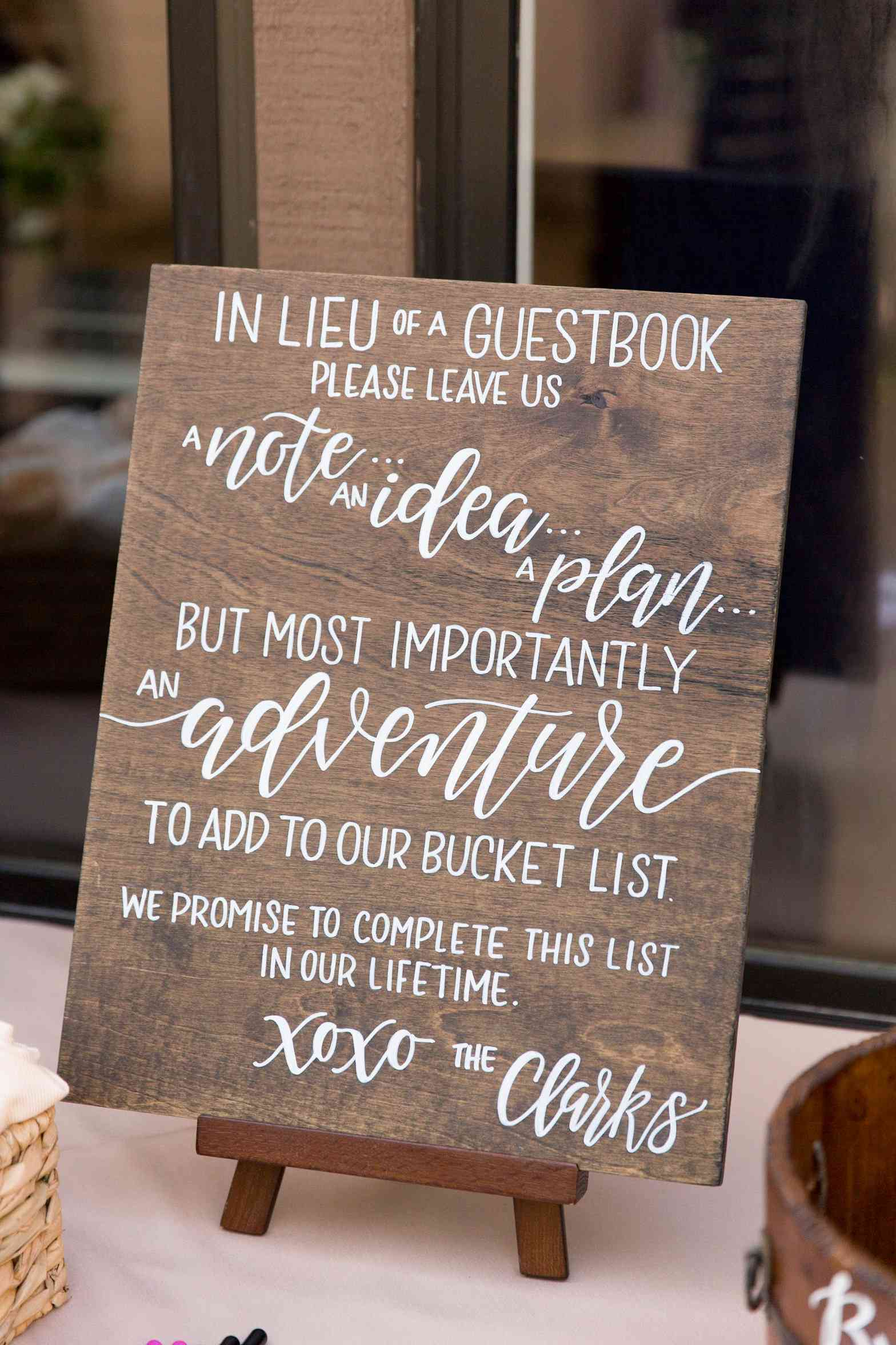 Handpainted wooden sign for wedding guest book