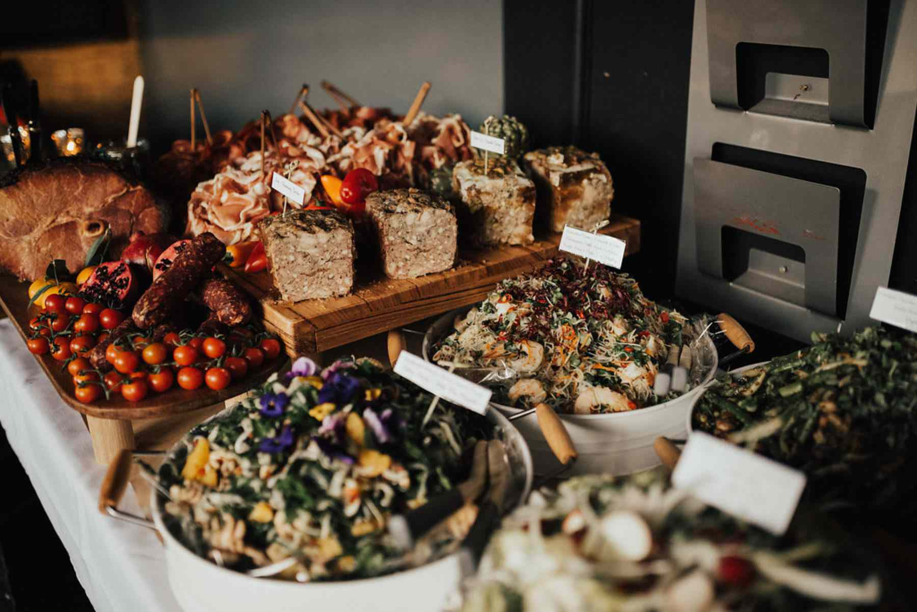 Reception grazing table with salads