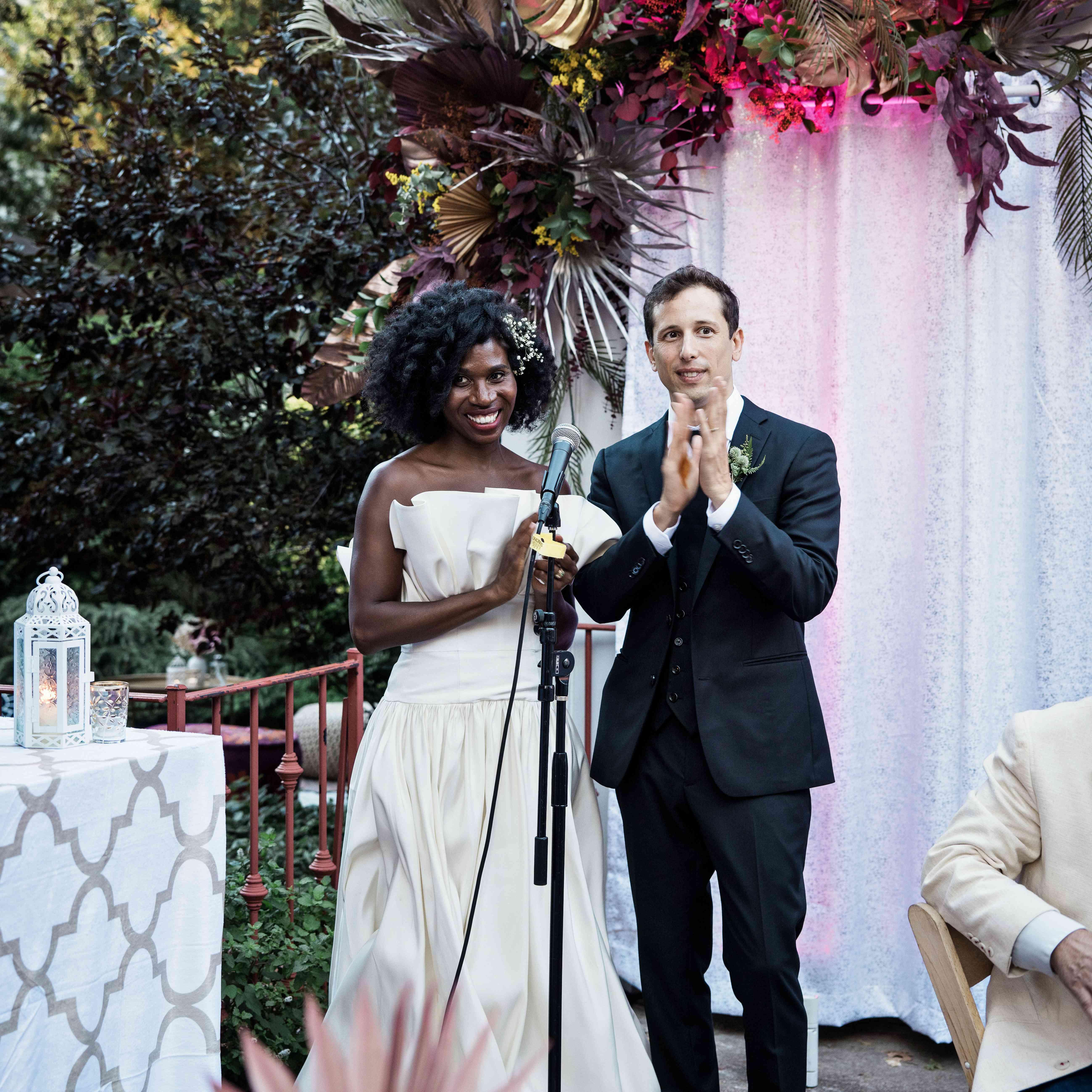 The couple make a speech
