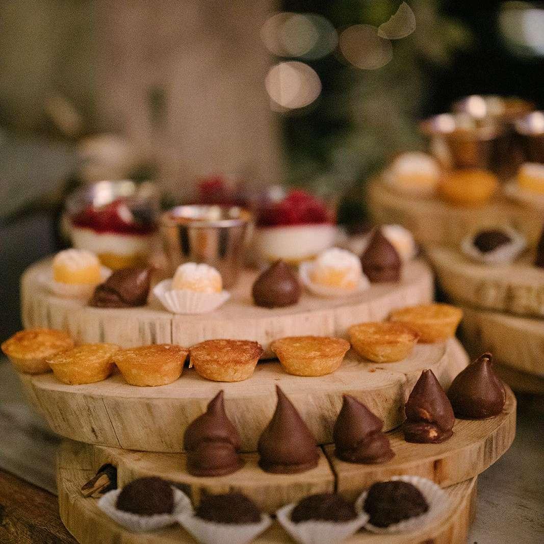 Wood Slab Dessert Display