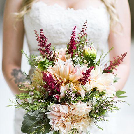 a rustic dahlia wedding bouquet