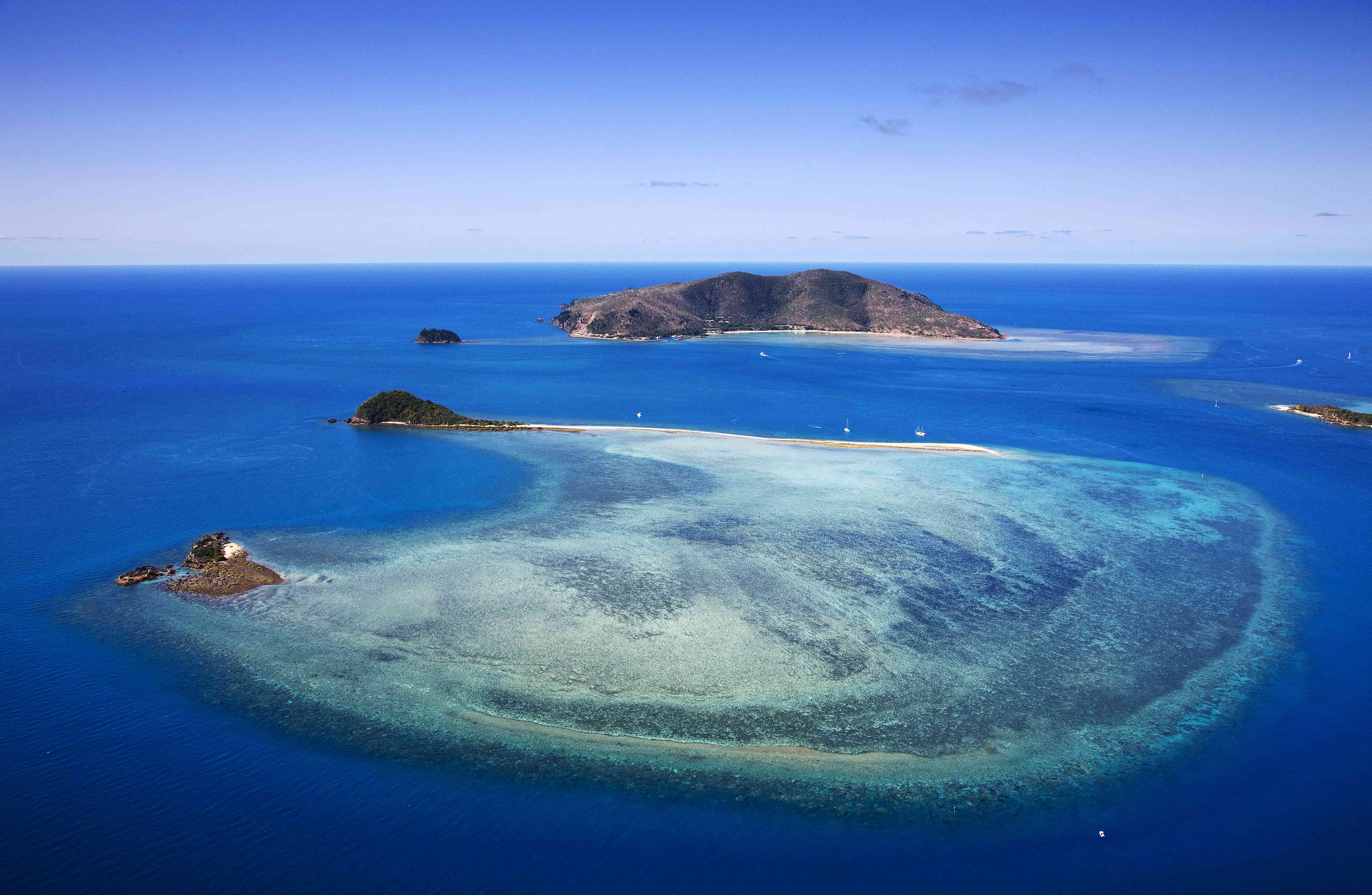 Aerial view of Hayman Island and Langford Reef, Whitsundays, Queensland